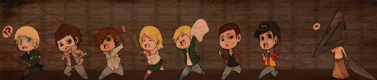 HNNNN 2hours20mins and 44seconds, and all I could muster was dis. Left to right Murphy-Silent Hill 8 Alex-Silent Hill 5: Homecoming Henry-Silent Hill 4: The Room Heather-Silent Hill 3 James-Silent ...