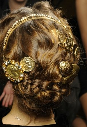 2014 Hair Trends | milan fashion week spring 2014 hair trends:gold details, hair embellishments, old world braids