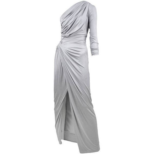 Pre-owned Silk Jersey Versace Gown (59.095.340 VND) ❤ liked on Polyvore featuring dresses, gowns, evening dresses, front slit dress, asymmetrical gown, asymmetrical evening gowns, versace and asymmetrical dresses