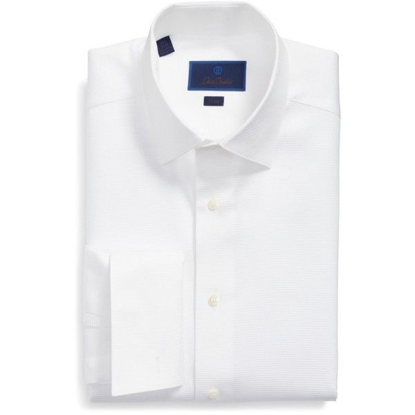 Men's David Donahue Trim Fit Twill French Cuff Tuxedo Shirt (145,290 KRW) ❤ liked on Polyvore featuring men's fashion, men's clothing, men's shirts, men's dress shirts, solid white, mens white dress shirts, mens formal dress shirts, mens white shirts, mens formal shirts and mens button shirts