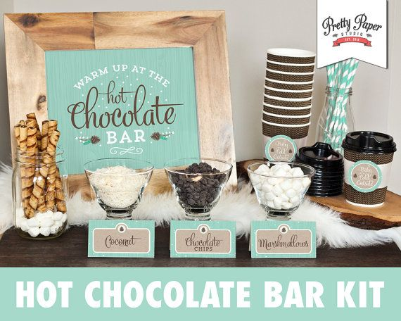 Printable hot chocolate bar kit in frosty mint. Hosting a gathering this winter? Treat your guests to the growing trend of a hot chocolate bar! A great addition to any Christmas party, new years party, wedding, bridal shower, baby shower, birthday party, etc. Simply print, trim, and display!