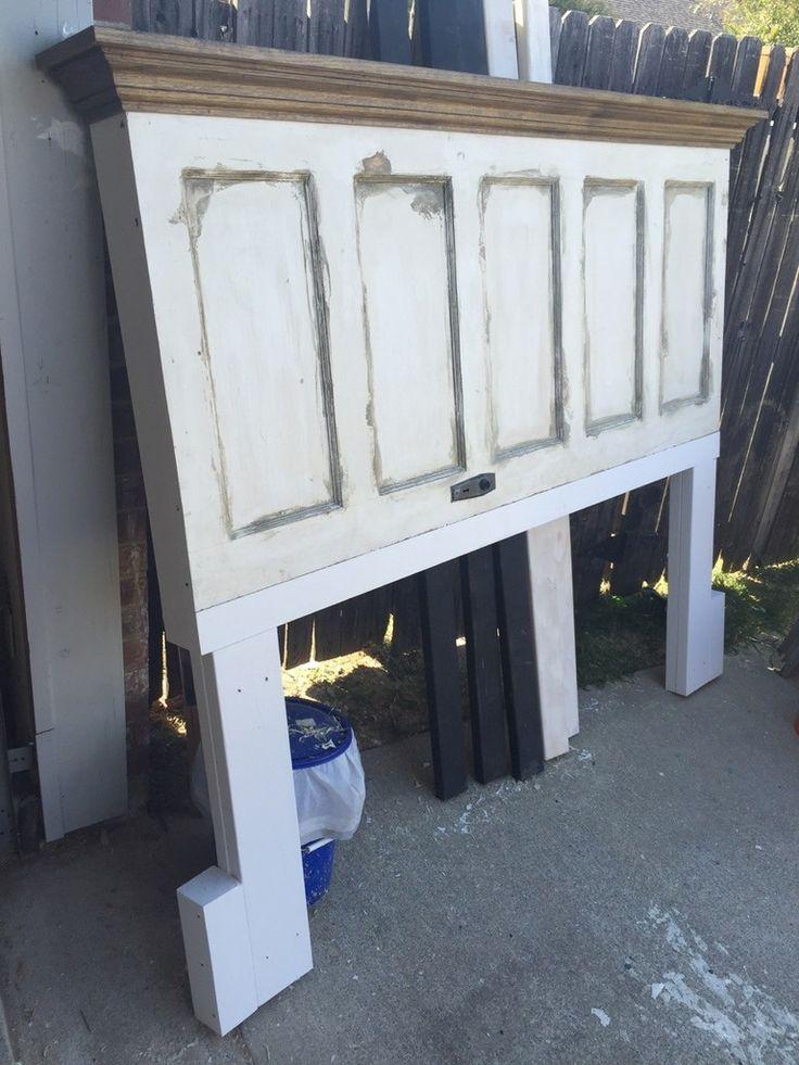 King size 5 panel vintage door headboard with oak crown molding shelf by Vintage Headboards 972.668.2603