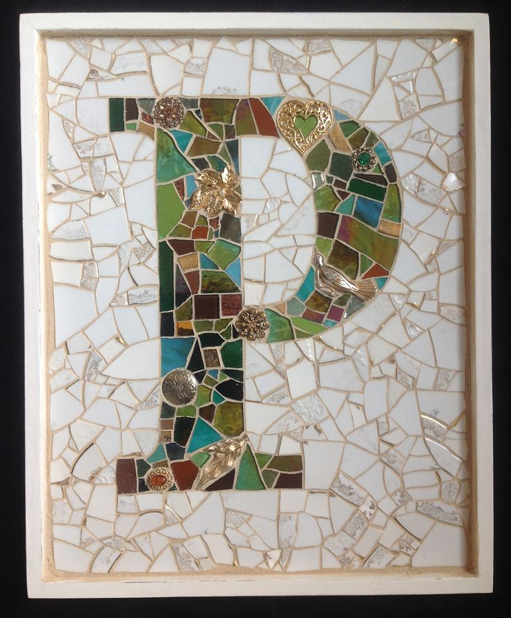 The letter P monogram mosaic plaque wall art created for wedding present