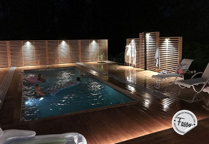 By night - pool, deck, lighting, veranda, outdoor, exterior