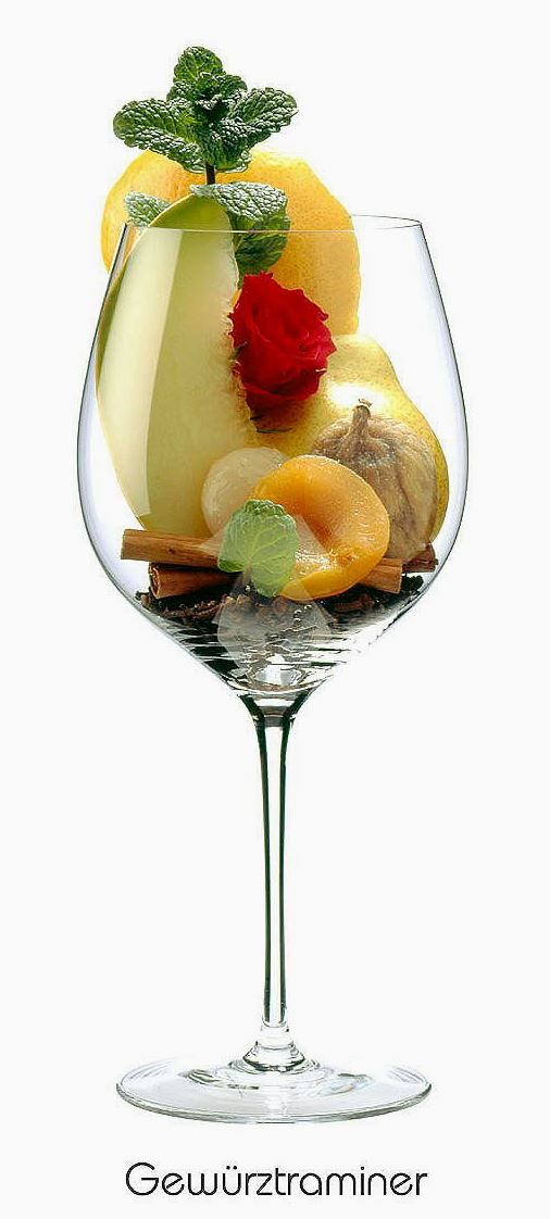 Gewürztraminer (white)   Aromas of grapefruit peel, pear, dried fig, apricot, lychee, rose, mint, cinnamon, clove   Alsace, France