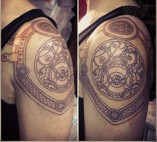 Celtic Armor Tattoo On Men Left Shoulder