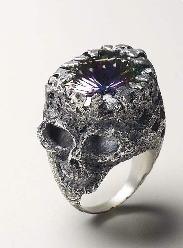 My unique skull ring design. Wax carving. Silver + Mystic gem. inspired by Alexander Mcqueen.