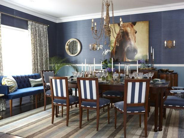 One of my favourite all-time dining room designs. Monochromatic blue scheme works