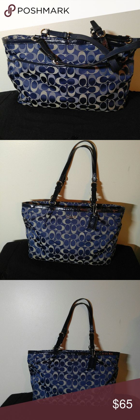 Authentic Coach Tote Beautiful Authentic Coach Tote in a beautiful Purple, in EXCELLENT CONDITION !! Size is 18 X 10 with an 8 in. Drop. Coach Bags Totes