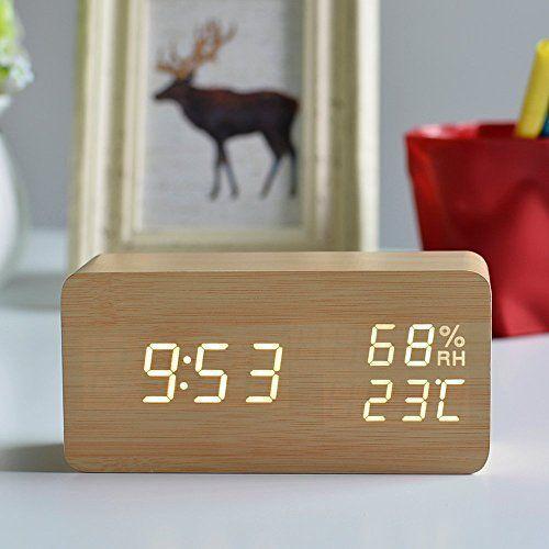 F19th 置き時計 白色LED デジタル 木目調 プレゼント おしゃれ かわいい カレンダー 温湿度表示 目覚まし時計 アラーム付き USB給電