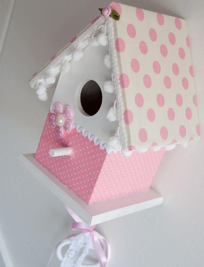 Vogelhuisje wit met roze. Incl. muziekdoosje #vogelhuisje #kinderkamer #muziekdoosje
