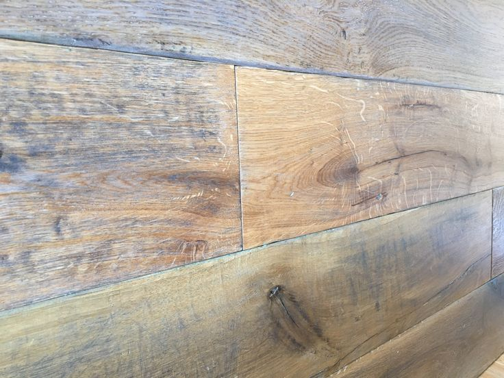 Amazing vintage wide plank ELSKER oak flooring looks stunning for a feature wall