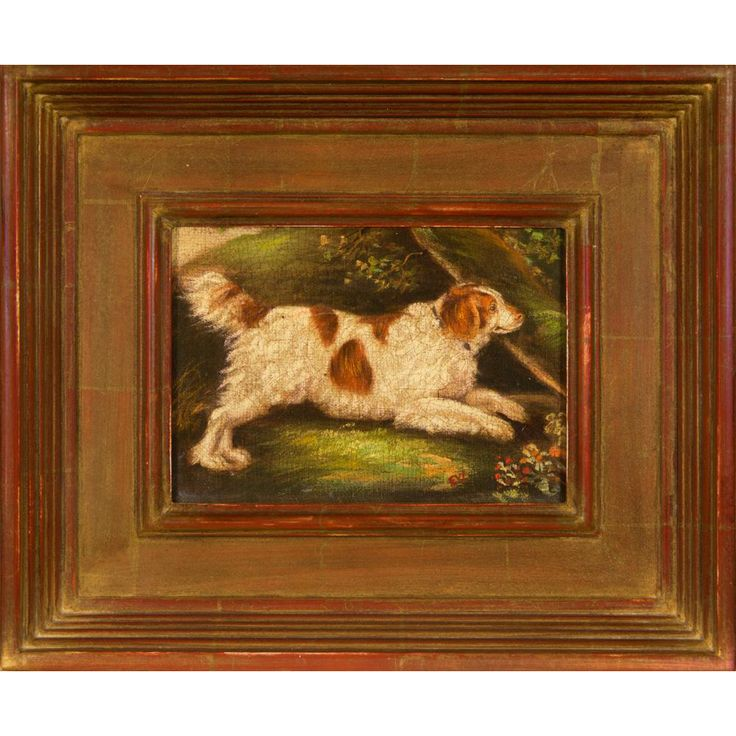 Original Vintage Oil Painting of English Water Spaniel Dog, After Henry Bernard Chalon in Gilded Frame, Signed