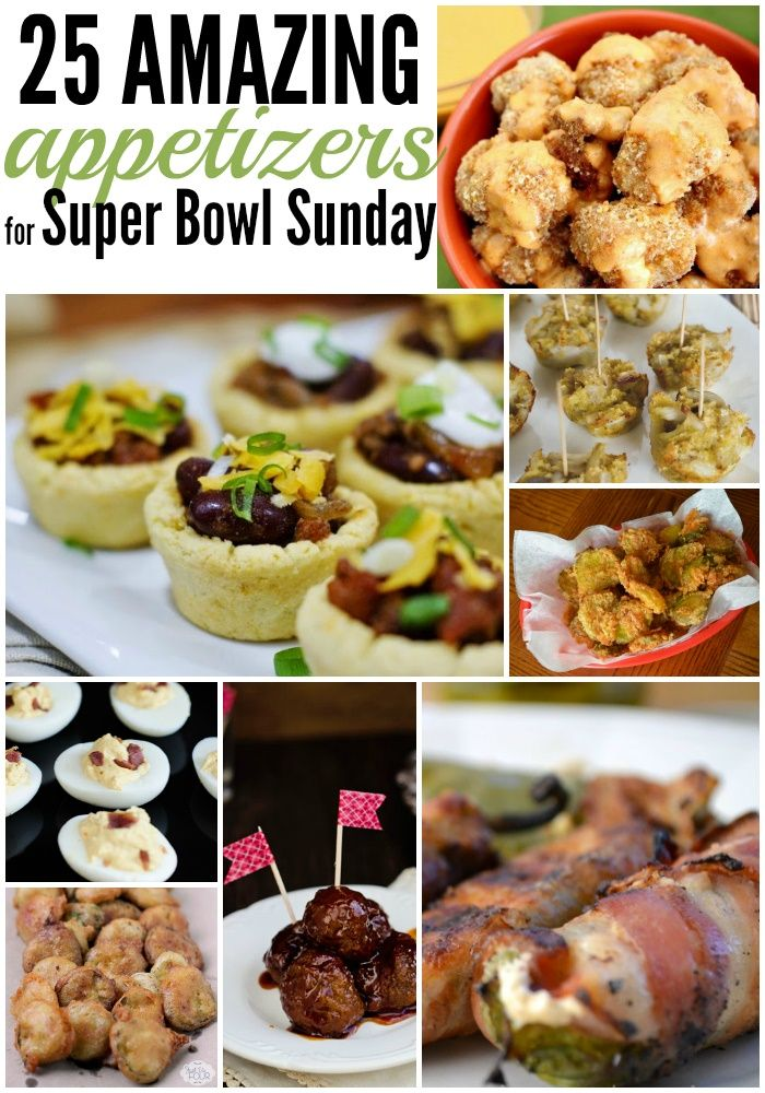 25 Amazing Appetizers for Your Super Bowl Party  25 amazing Super Bowl Sunday appetizers to enjoy. There is something for everyone, from the Vegan friendly Crab Bites to the Bacon Wrapped Tater Tot Bombs for the meat and potatoes lover.