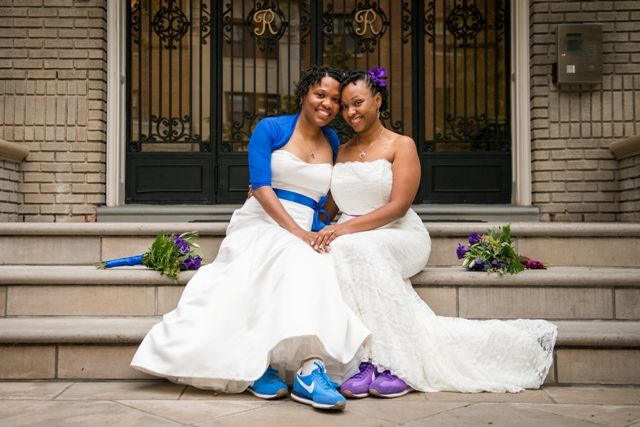 Two lesbian brides in love | Kat Forder Photography