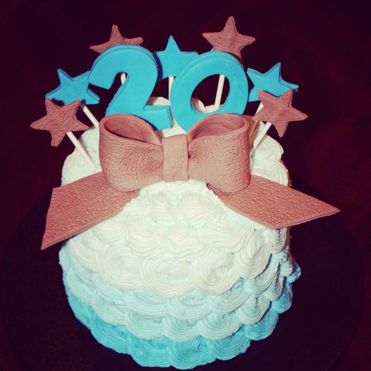 Ombre rosette buttercream 20 th birthday burlap ribbon Nettie Cakes annette3107@yahoo.com