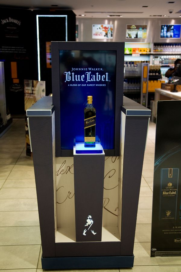 One of several retail display cases created by Nexus+Digiprint for Johnnie Walker Blue Label. Miami International Airport. For more information visit http://www.nexusdigiprint.com