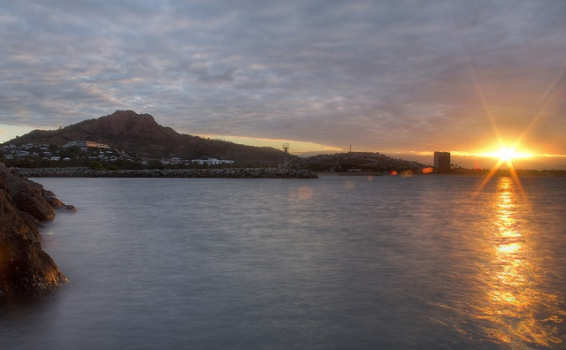 A beautiful sunset looking over The Strand and Castle Hill in Townsville, North Qld.