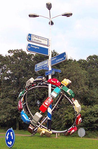 Olaf Mooij, De Mallemolen Van Deze Tijd, Rotonde Auke Vleerstraat, Enschede, Overijssel.