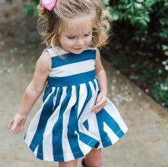 'Briar' Navy and White Stripe Dress