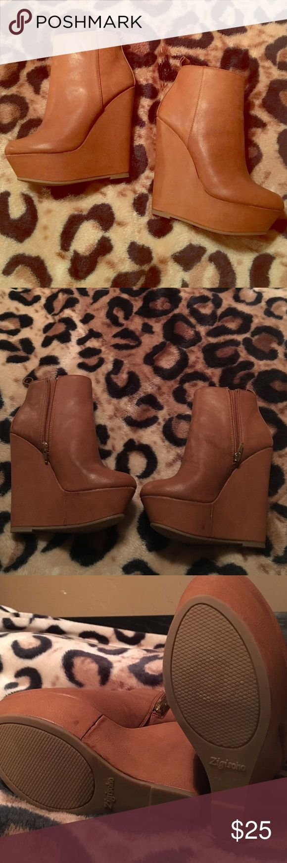 Brown wedge booties Brand new camel booties. Zip up sides. Purchased from DSW and never worn. Zigi Soho Shoes Ankle Boots & Booties