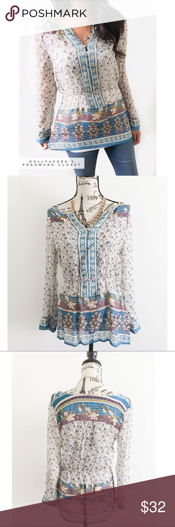 """Lucky Brand Semi Sheer Boho Print Top ✦   ✦{I am not a professional photographer, actual color of item may vary ➾slightly from pics}  ❥chest:19"""" ❥waist:15"""" ❥length:27"""" ❥sleeves:23"""" ➳material/care:polyester/machine wash  ➳fit:true w/a billowy style  ➳condition:gently used   ✦20% off bundles of 3/more items ✦No Trades  ✦NO HOLDS ✦No transactions outside Poshmark  ✦No lowball offers/sales are final Lucky Brand Tops Tunics"""
