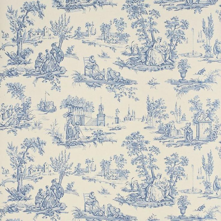 Sanderson Courting Toile DEGTCT101 (Cream/Blue) wallpaper from the Toile collection, priced per roll. Courting Toile is a part of the Toile Wallpaper collection