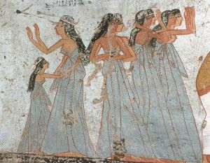 Common mourners from the tomb of Ameneminet. XIX Dynasty. Ancient Egypt. Photo www.osirisnet.net