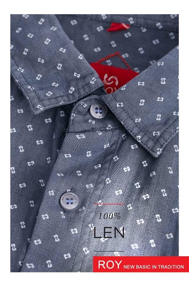 Men linen shirt, summer collection; printed linen.