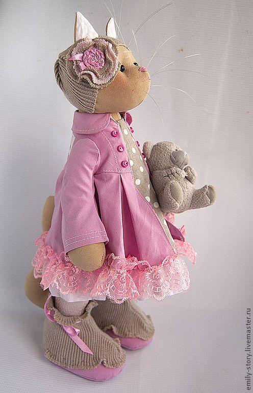 Купить Кошка Rosie - розовый, кофе с молоком, белый, интерьерная игрушка, кошка