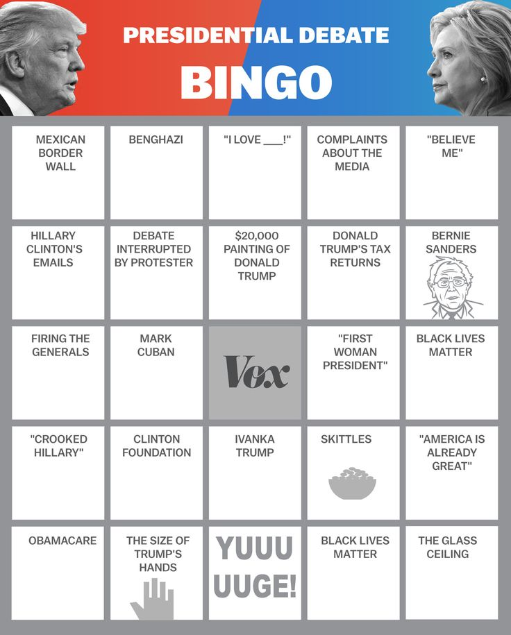 Clinton vs. Trump Bingo