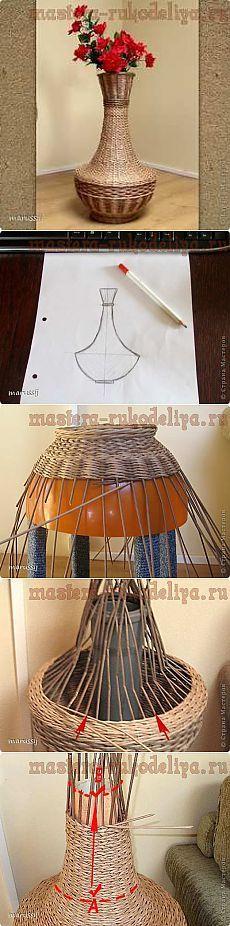 Мастера рукоделия - рукоделие для дома. Бесплатные мастер-классы, фото и видео уроки - Мастер-класс по плетению из газет: Ваза из газетных трубочек