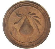Antique 19thC PEAR FRUIT BUTTER STAMP AAFA Folk Art Primitive mold treen
