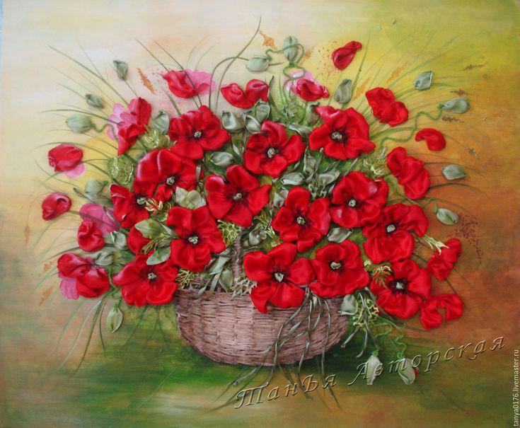 """Купить Вышитая картина """"МАКИ"""" - ярко-красный, картина для интерьера, картина с цветами, картина на холсте"""