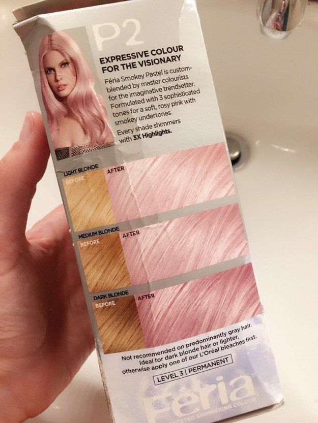 L'Oreal Feria Smokey Pastels Pink P2 side of box hair samples | Rose Gold Hair At Home | The Quick & Easy Hair Trend You'll Fall In Love With This Fall!