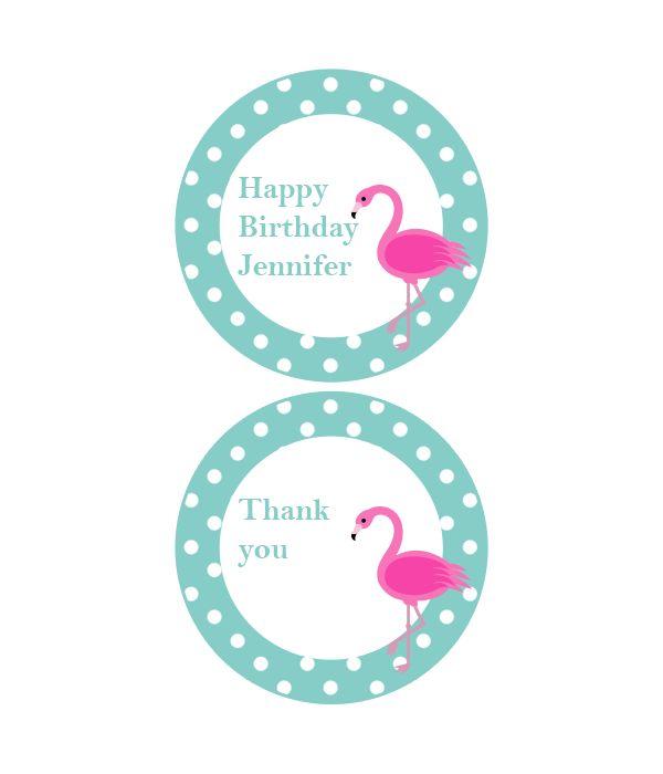 Polka Dot Flamingo Party Labels Favor Tags Adobe Free