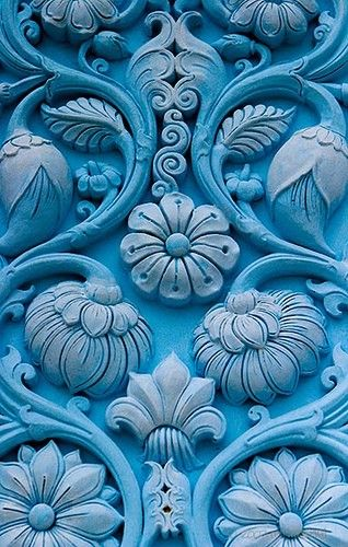 Turquoise Blue Door with Delicately Carved Floral Motif