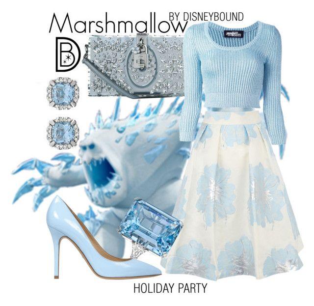 """Marshmallow"" by leslieakay ❤ liked on Polyvore featuring Dolce&Gabbana, Jeremy Scott, Coast, Betteridge, Semilla, disney, disneybound and disneycharacter"