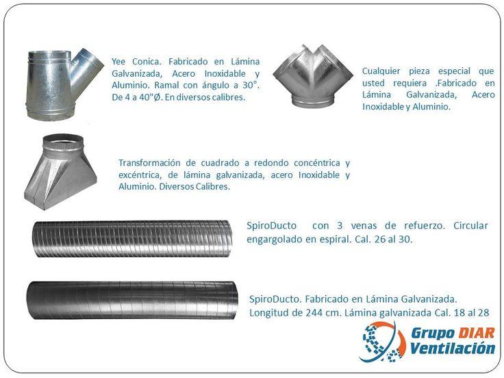 Ducteria en lamina galvanizada, lamina pintro, lamina negra, acero inoxidable y aluminio. Se Fabrica en diversos calibres y medidas.