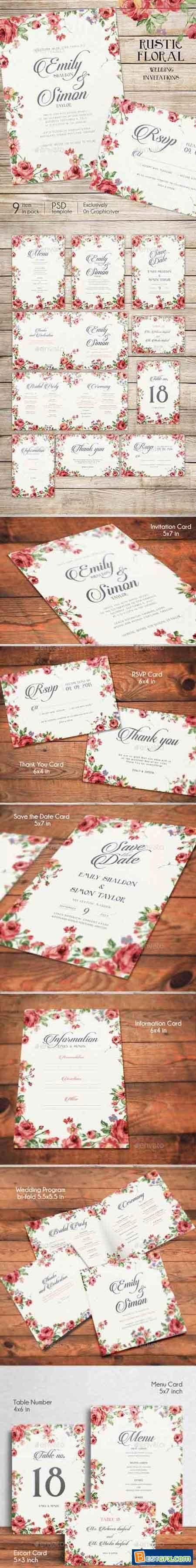 Rustic Floral Wedding Invitations 10358801