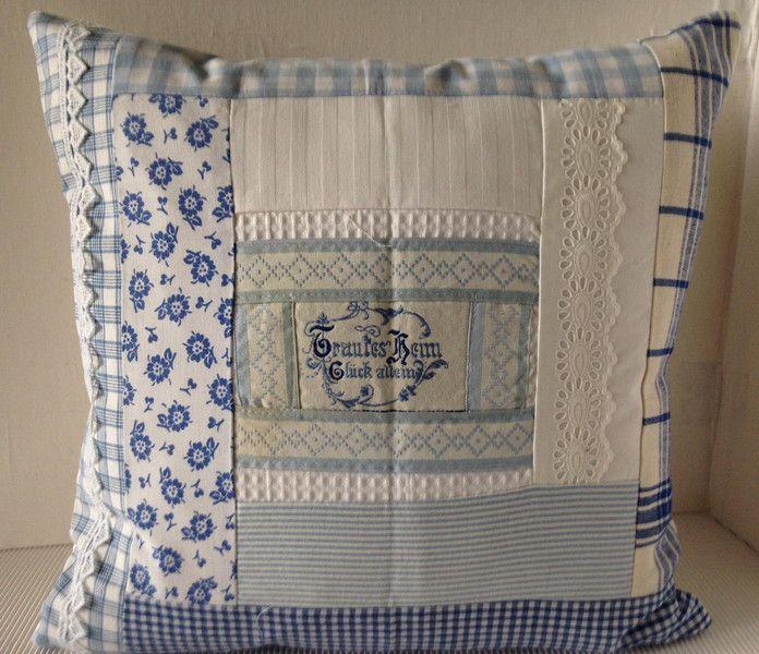 Kissenbezug Patchwork weiss/blau 40x40cm von einfachschön! auf DaWanda.com