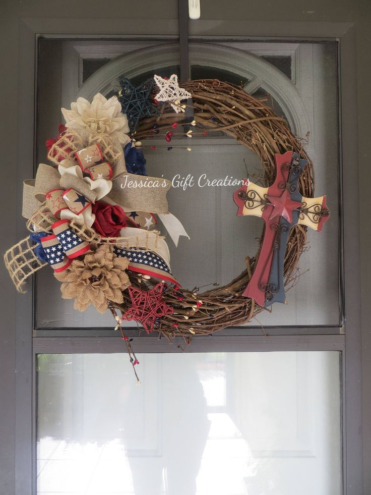 Ready to Ship Patriotic Grapevine Wreath/Front Door Wreath/Cross/Red White and Blue/Rustic Decor/Fourth of July/Military/Religious/Holiday by JessicasGCreations on Etsy