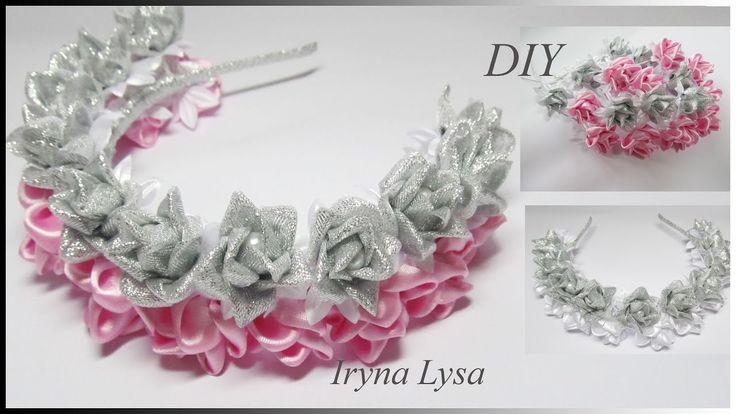 МК Ободок-венок с цветами из лент, DIY Flowers, Headband, Ribbon flowers...