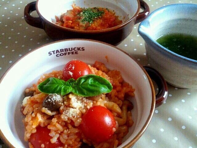 アーサ汁と 昨夜残した、鶏のトマト煮込みも。なんかトマトマしい(>_<) - 52件のもぐもぐ - ふたりde トマトリゾット by manimaaru