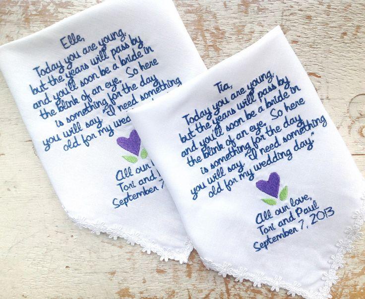 Embroidered Wedding Handkerchief Monogrammed Custom 2 Flower Handkerchiefs