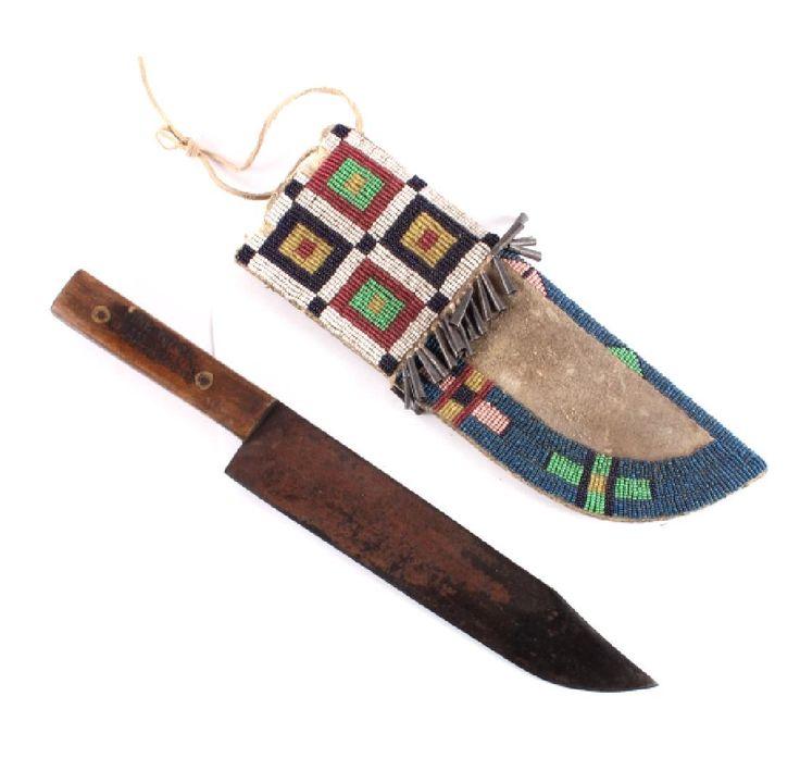 "Нож ""Snake Brand Sheffield England Bowie Knife"" и ножны, Оглала Сиу. 19 век. Агентство Пайн Ридж. North American Auction Company Bozeman, MT. Февраль 2017. Native American, Firearms, Western Auction."