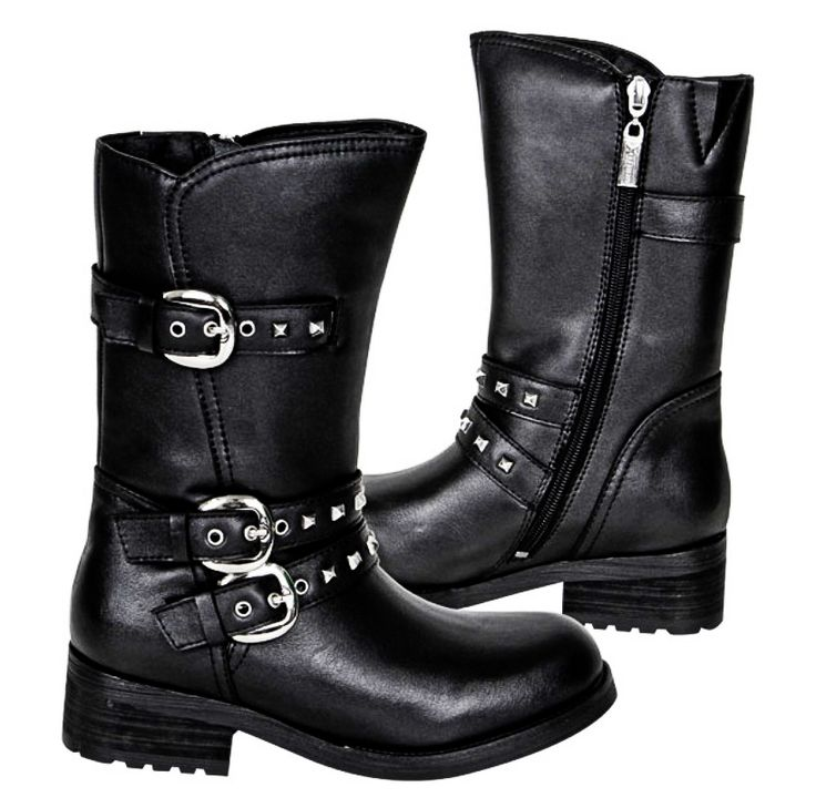 Classic Engineer Biker Boot Style with a Little Bling! 11 Inches Tall and Made of Full Grain Leather. Three Buckle Straps with Embedded Metal Studs. Oil-Resistant Non-Slip Sole. Comfort Cushion Insole. Inside Calf Zipper for Easy On and Off. Durable One Piece Molded Rubber Sole for Ease While Riding. 2 Inch Steel Shank Heel. Don't let the shiny bling fool you! These are real motorcycle boots! #motorcycle #boots #fashion…