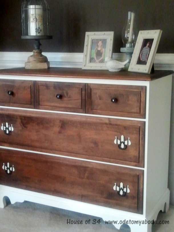 Old dresser makeover @ House of 34. Love the dark and white loooook striped hardware