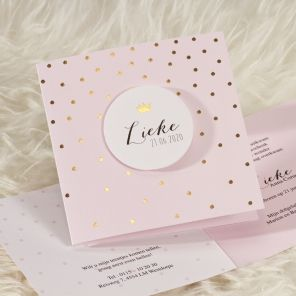 Roze geboortekaartje met gouden confetti |Tadaaz #geboortekaartje #goudfolie #love #sweetpink #kroontje www.tadaaz.nl