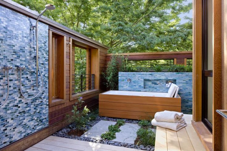 Sumi-e 1 x 2 Hokkaido Natural used in a shower surround, Sumi-e Large Brick in Izu Natural used on a hot tub - Design by Cathy Schwabe Archi...